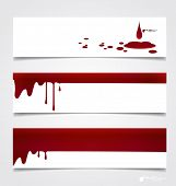 Happy Halloween design banners. Blood dripping on paper, blood background. Vector illustration.