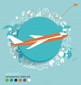 Modern infographics template style with plane. Vector illustration.
