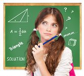 Closeup portrait of cute teen girl thoughtful facial expression, try to solve hard mathematics task, knowledge and education concept