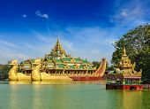 Yangon icon landmark and tourist attraction:  Karaweik - replica of a Burmese royal barge at Kandawg