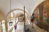 DUBROVNIK, CROATIA - MAY 26, 2014: Art conservation and restoration in the Franciscan Monastery in D