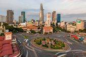 Downtown Saigon and Quach Thi Trang park before sunset