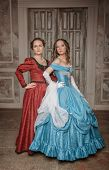 Two Beautiful Women Medieval Dresses