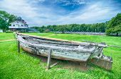 An Old Rowing Boat In Need Of Repair
