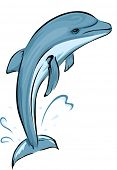 Illustration Featuring a Dolphin Doing a Leap