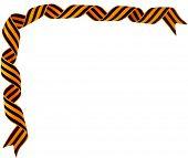 Border corner of black orange strip bow surface close up isolated on white background