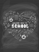 School objects in the shape of heart