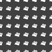 Video-camera web icon. flat design. Seamless gray pattern.