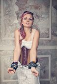 Beautiful Steampunk Woman With Handcuffs