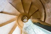 ancient spiral staircase in church