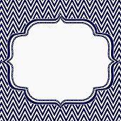 Navy Blue And White Chevron Zigzag Frame Background