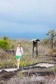Young woman hiking at Galapagos islands national park, Ecuador