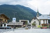 LES HOUCHES, FRANCE - AUGUST 23: Les Houches town centre. Les Houches is one of the Tour du Mont Bla