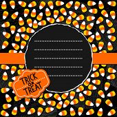 picture of centerpiece  - Halloween candy white yellow orange sweets with halloween retro shaped sticker autumn holiday colorful card on dark round torn centerpiece with blank place for your text on orange ribbon - JPG