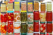 picture of pickled vegetables  - Pickled vegetables in mason jars ready for winter - JPG