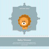 baby shower card, for baby boy,blue stripe background with lion