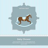 baby shower card, for baby boy,blue stripe background with rocking horse