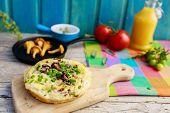 Frittata with chantarelle mushrooms, omelette - Italian cuisine