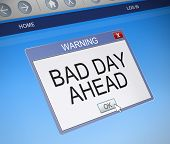 stock photo of bad mood  - Illustration depicting a computer screen capture with a bad day concept - JPG