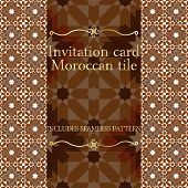 Invitation card pattern with Islamic morocco ornament. Includes seamless pattern. RGB