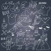 Stylish Halloween set in vector. A lot of scary holiday symbols in cute cartoon style on a texture