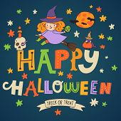 Cute cartoon Halloween card in bright colors