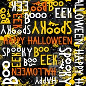 Happy halloween letters and cats seamless pattern on dark