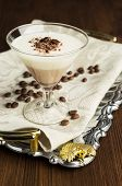 picture of panna  - chocolate and vanilla panna cotta on a silver tray - JPG