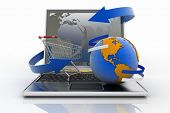 Laptop with arrow and Shopping cart with a globe. The concept of buying gifts and commodities on the