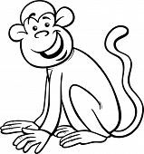 Funny Monkey Cartoon Coloring Page