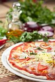 Pizza Carbonara with Bacon, Yolk and Tomato