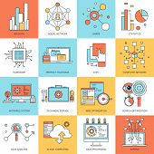 stock photo of antivirus  - Vector set of flat line concepts on technology theme  - JPG