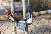 Gate with padlocks on