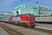 NOVOSIBIRSK, RUSSIA - AUGUST 25, 2014: Passenger train arriving on the main railroad station of Novo