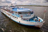 Samara, Russia - August 26, 2013: River Cruise Ship S. Yulaev Near The Embankment In Samara At Sunny