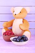 Toy bear and bowl of raspberries and plums on wooden table on wooden wall background