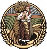 Vector illustration in retro woodcut style of a young female farmer, carrying grain harvest.
