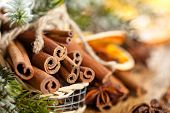 Cinnamon Sticks In Basket.