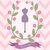 Bright Floral Card With Cute Cartoon Tailoring Emblem With Mannequin