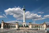 Budapest - Circa July 2014 : Monument At Heroes Square Circa July 2014 In Budapest, Hungary. This Sq