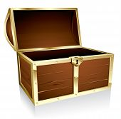 pic of treasure chest  - Illustration of a wooden treasure chest with nothing in it - JPG