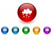 rain internet icons colorful set