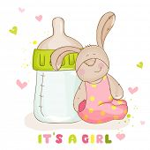 Baby Shower or Baby Arrival Cards - Cute Baby Bunny - in vector