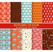 10 Seamless Patterns - Autumn Set - Texture for wallpaper, background, texture, scrapbook - in vector