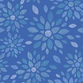Blue abstract flowers textile seamless pattern background