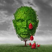stock photo of cry  - Depression and mental health concept as a tree shaped as a human head that is crying fruit shaped as tear drops as a metaphor for being depressed postpartum or sadness in the mature age - JPG