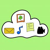 Cloud computing in colorful doodle style