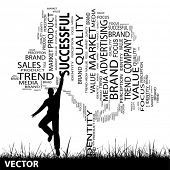 Vector concept or conceptual black media tree and grass word cloud, a man jumping on white backgroun