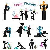 Happy birthday. Childhood vector set. Pictogram icon set. Children birthday party.
