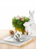 Easter Table Setting With Bunny And Eggs Decoration